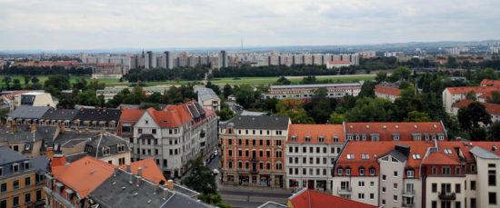 Blick von der Martin-Luther-Kirche Richtung Johannstadt