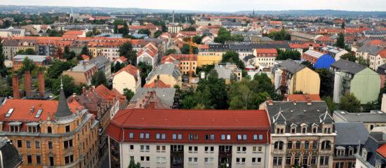 Blick von der Martin-Luther-Kirche Richtung Nordbad