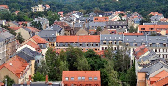 Blick von der Martin-Luther-Kirche Richtung Heide