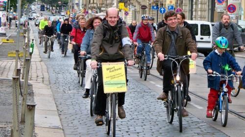 Grüne, Linke und SPD auf dem Rad.