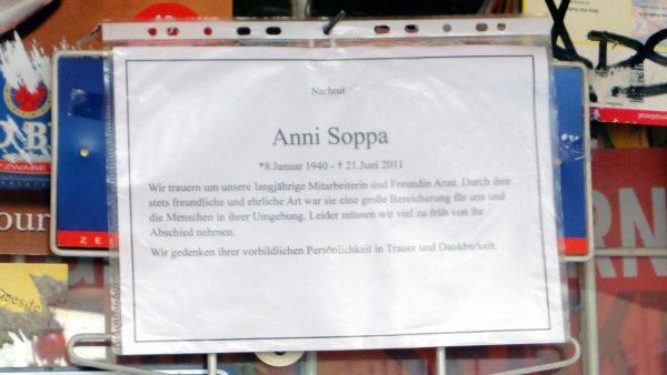 Nachruf auf Anni Soppa