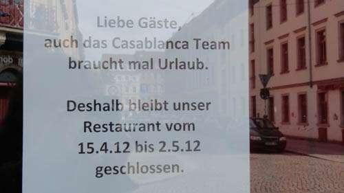 Café Casablanca geschlossen