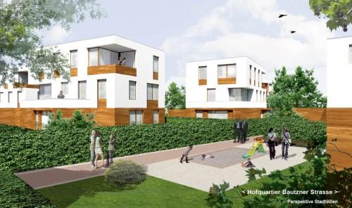 Stadtvillen mit Mietwohnungen. Visualisierung: Arge Schubert Horst Architekten - TSSB architekten.ingenieure