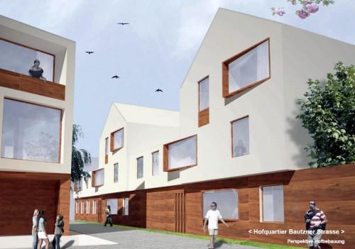 Hinterhäuser als Reihenhäuser. Visualisierung: Arge Schubert Horst Architekten - TSSB architekten.ingenieure