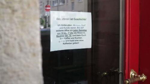 Kein Kaffee und Zubehör mehr auf der Alaunstraße