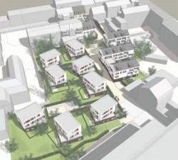 Das Hofquartier im Überblick. Perspektive vom Dach des Parkhauses. Zeichnung: Planungsbüro Schubert und Horst.
