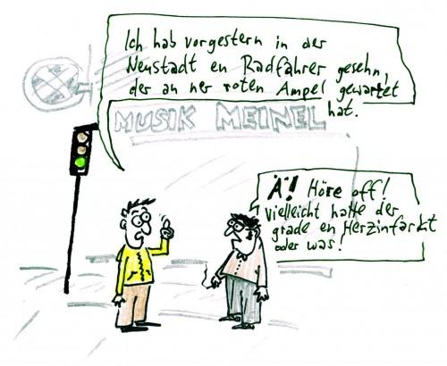 Die Radfahrer in der Neustadt - Karrikatur: Willi