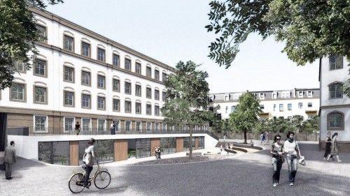 Das Gebäude an der Louisenstraße soll ebenerdig einen neuen Speisesaal bekommen. Visualisierung:  Stesad