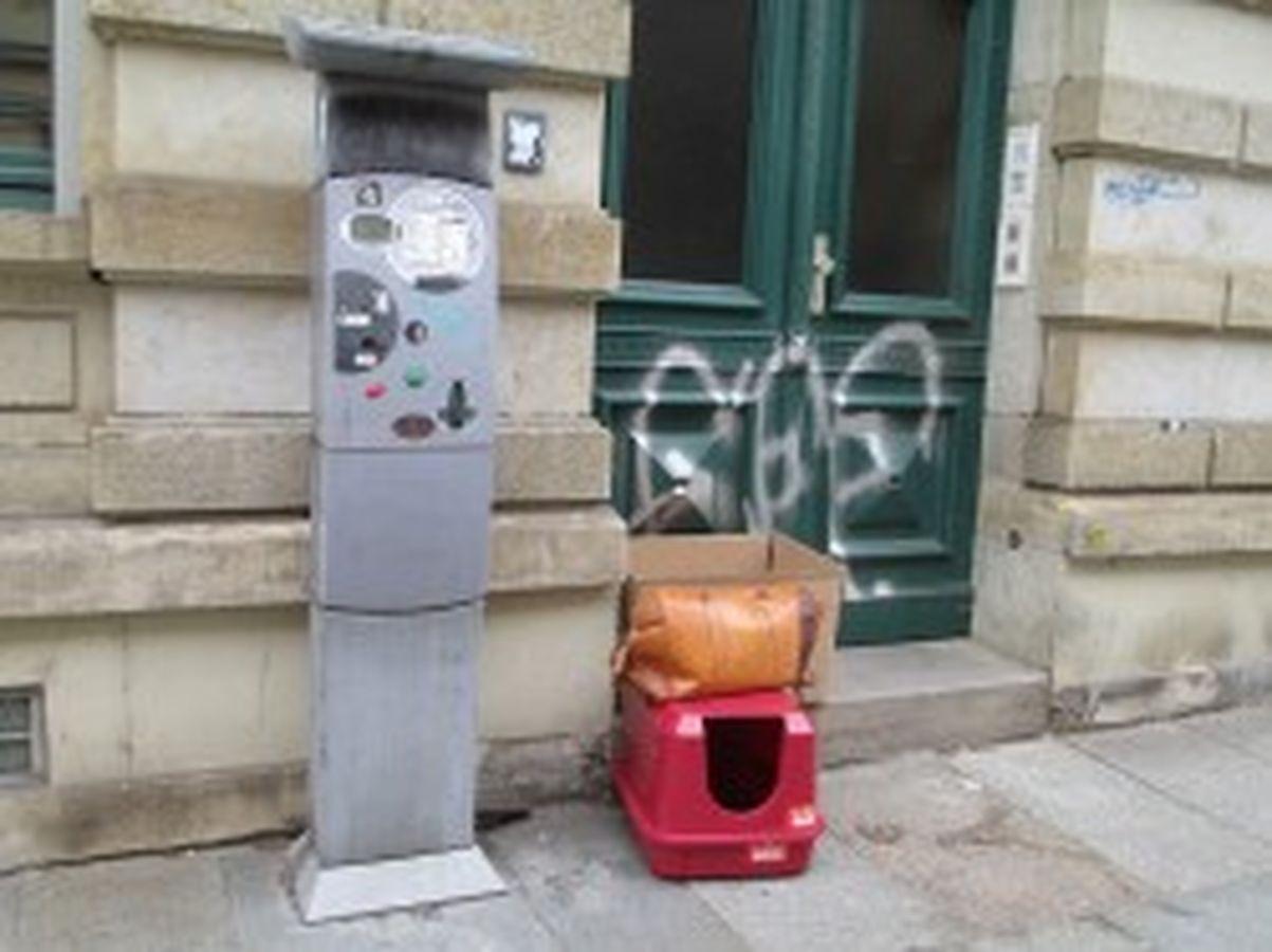 Katzenvilla zum Mitnehmen. Der Parkautomat ist reserviert für außergewöhnlich tragfähige Personen