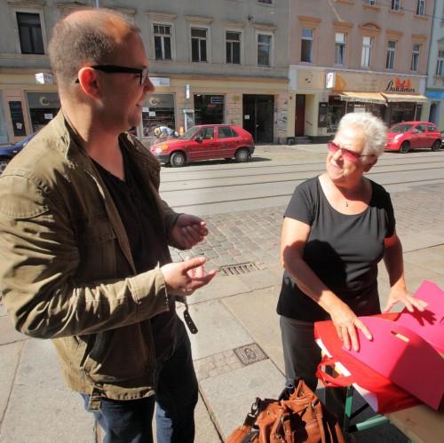 Karin Sachs im Neustadt-Geflüster-Gespräch. Foto: Günter Starke
