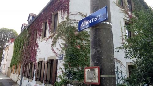 Ahornstraße vom Dammweg aus gesehen.