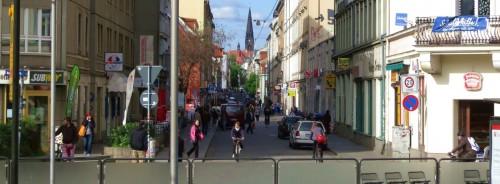 Die Alaunstraße von der Bautzner aus gesehen ... Foto: Archiv 2013