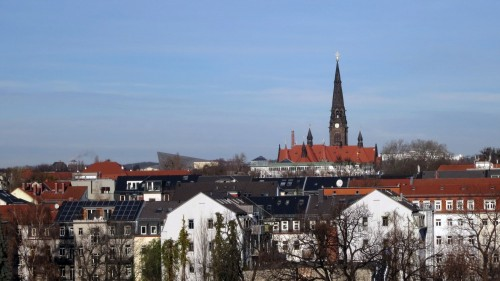 Die Albertstadt von der Louisenstraße aus gesehen. Foto: Archiv