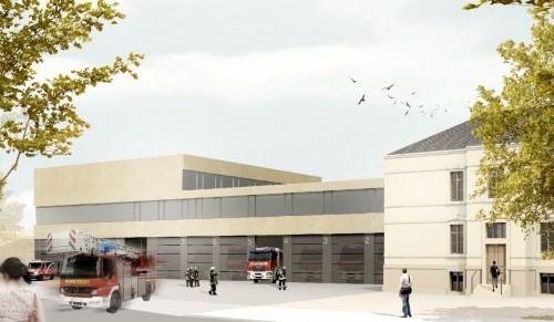 Entwurfsansicht Feuer- und Rettungswache Albertstadt  - Visualisierung Stadtverwaltung Dresden.
