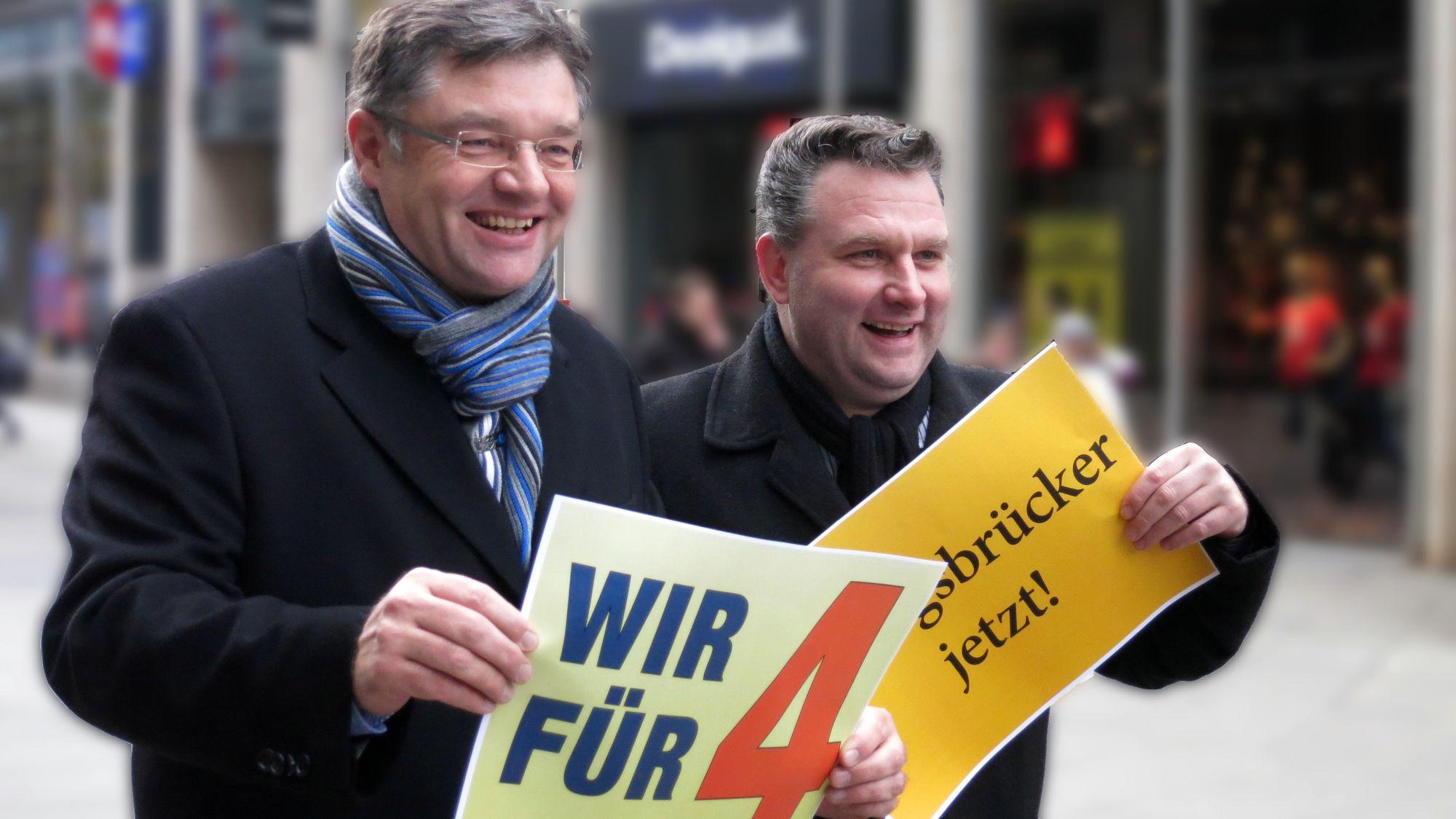 Voller Zuversicht: Holger Zastrow (FDP) und Christian Hartmann (CDU) sind die politischen Köpfe der Unterschriftensammlung.