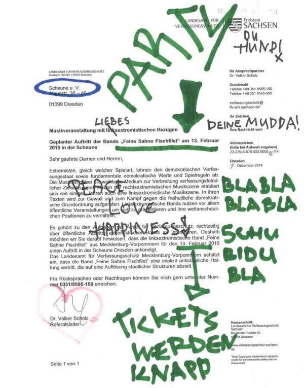 Markiertes Schreiben des Verfassungsschutzes