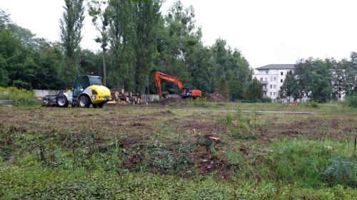 Mit schwerem Gerät wird die Fläche neben dem Parkplatz von Bäumen und Sträuchern befreit.