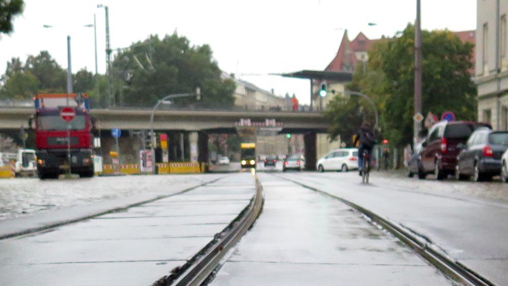 Am Bischofsplatz werden Gleise getauscht