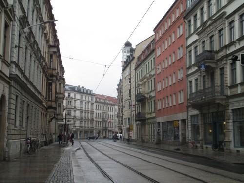 Blick auf die Hoyerswerdaer in Richtung Bautzner Straße