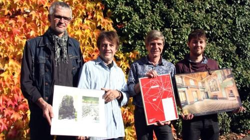 Drei Künstler ein Drucker: Markus Retzlaff, André Uhlig, Thomas-Pertermann und David Pinzer. Foto: PR/Mutschke