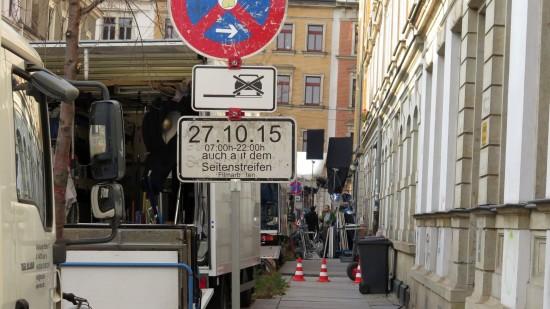 Fette Laster auf der Schönfelder Straße