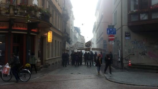Demonstration auf der Böhmischen Straße