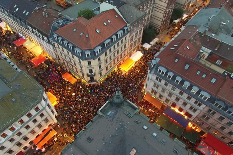 Rothenburger/Ecke Louisenstraße von oben bei Nacht - Foto: Agentur Schröder