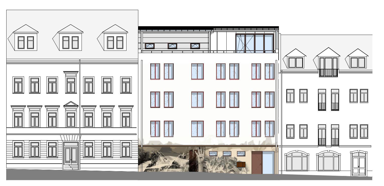 Kamenzer Straße 4 geplant mit K4-Portrait - Entwurf: basis|d