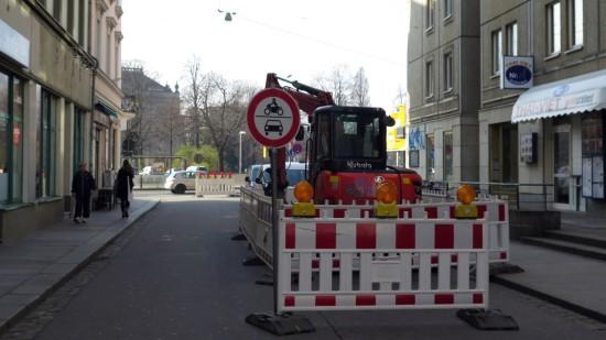 Alaunstraße gesperrt: Alaunstraße für Kraftverkehr gesperrt