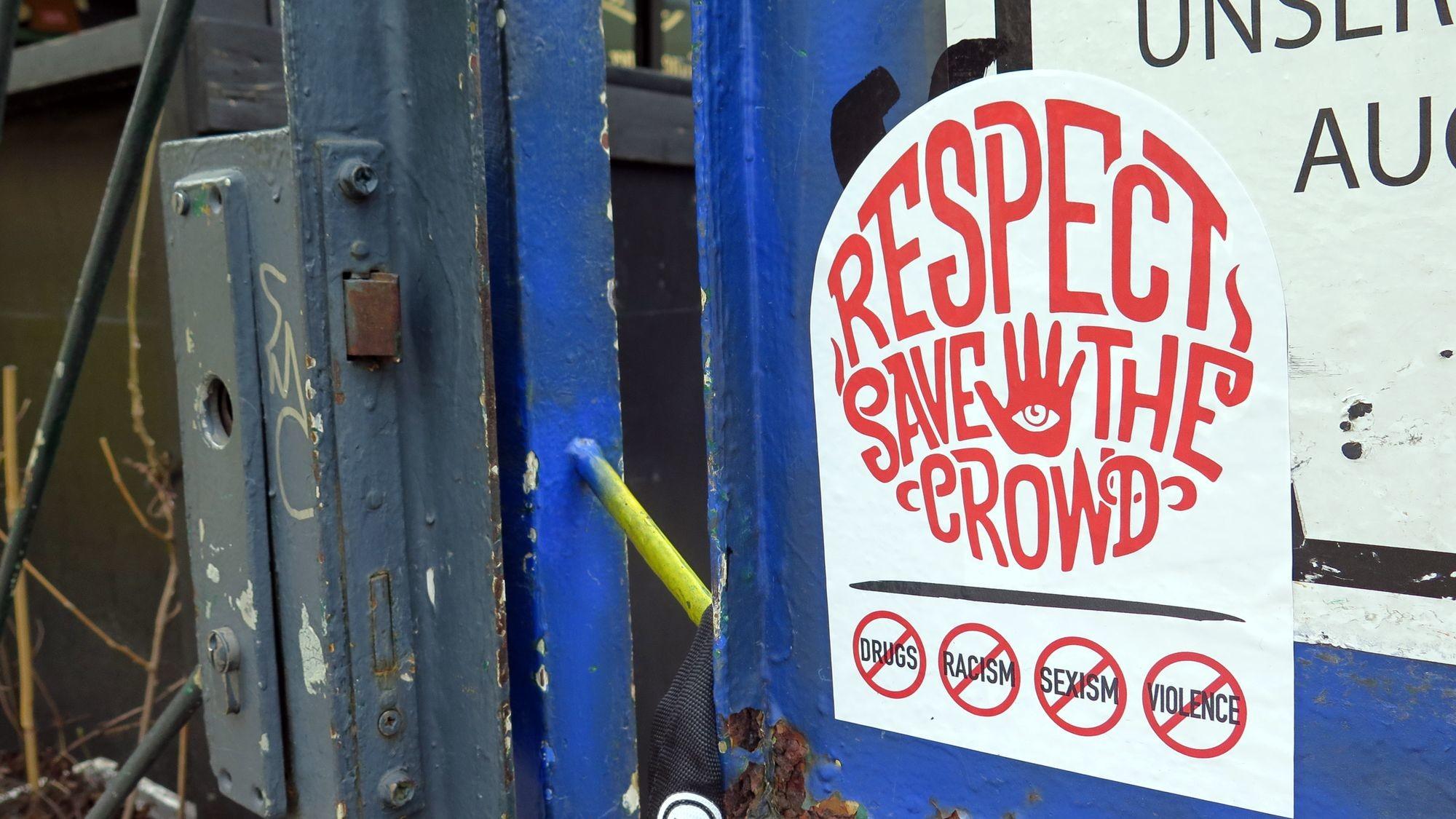 """Die """"Respect-Save-the-Crowd""""-Kampagne ist Bestandteil der Arbeitsgruppe Ordnung und Sicherheit."""