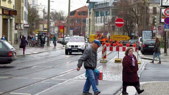 Baustelle Königsbrücker Straße : Königsbrücker Straße am 31. März 2016