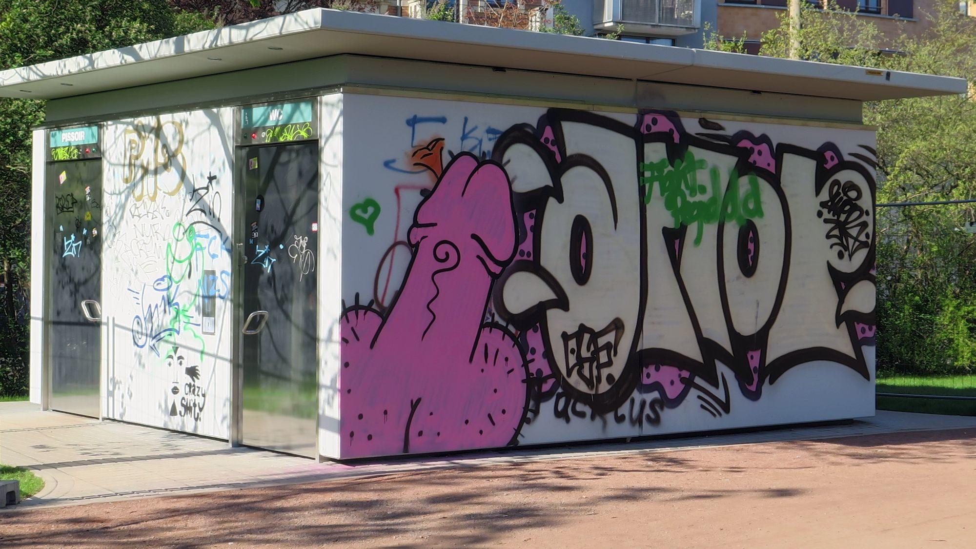 toiletten-street-art: Penis in hot pink