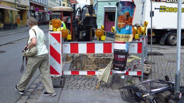 Baustelle an der Böhmischen/Ecke Alaunstraße
