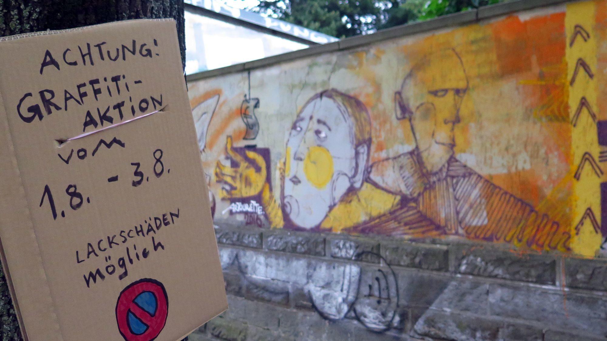 Malerarbeiten - Hinweis am Straßenrand