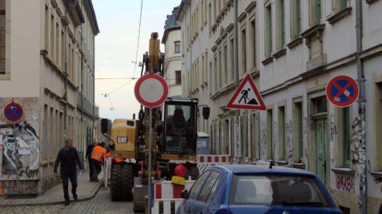Abwasser-Reparaturen an der Sebnitzer Straße.
