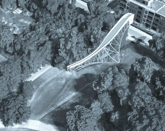 Die geplante Riesenschanze fügt sich harmonisch in das Umfeld an der Tannenstraße ein.