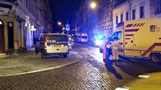 Polizei im Einsatz auf der Görlitzer Straße - Foto: Mario