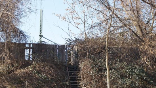 Der Aufstieg auf den Bahndamm