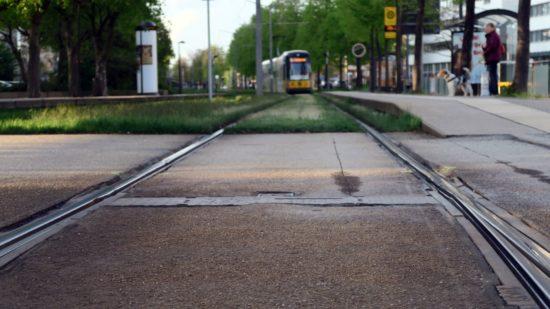 Am Carolaplatz werden die Gleise repariert.