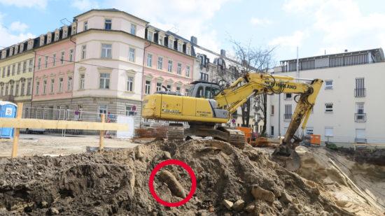 Die Bombe wurde heute Morgen an der Scheunenhofstraße gefunden.