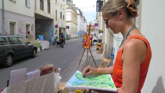 Künstlerin Antje Seewald bei der ersten Kunstmeile 2015 - Foto: Archiv
