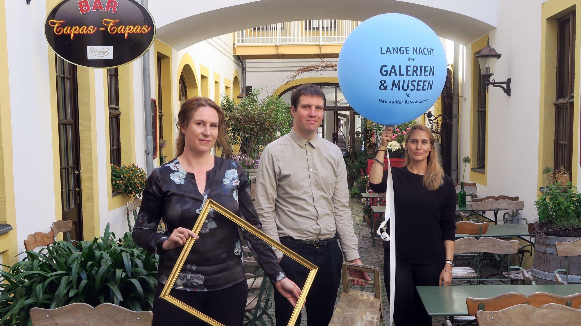 Anja Himmel (Galerie Himmel, Obergraben 8), Marten Schech (Caspar-David-Friedrich-Preisträger), Maria Bertelsmeier (Hans Körnig Museum)