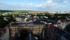 Turmblick mit Fernsehturm, Sächsischer Schweiz und Waldschlösschenbrücke