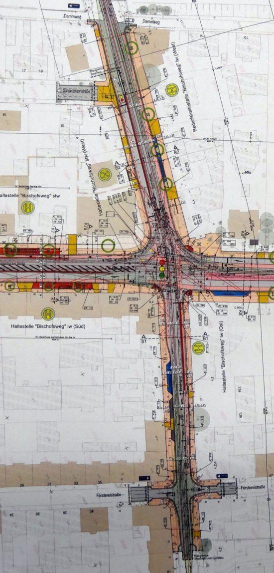 So sehen die Pläne für die Umgestaltung der Kreuzung Bischofsweg/Königsbrücker Straße aus.