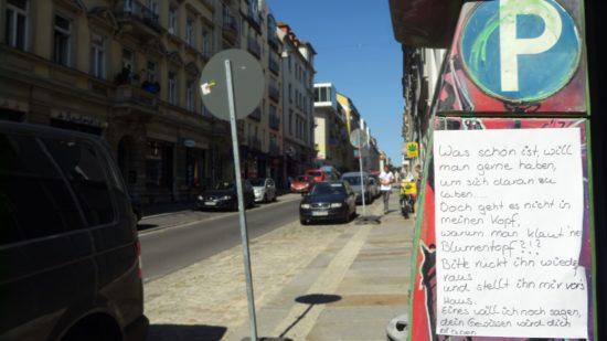 Vermisste Pflanze auf der Alaunstraße