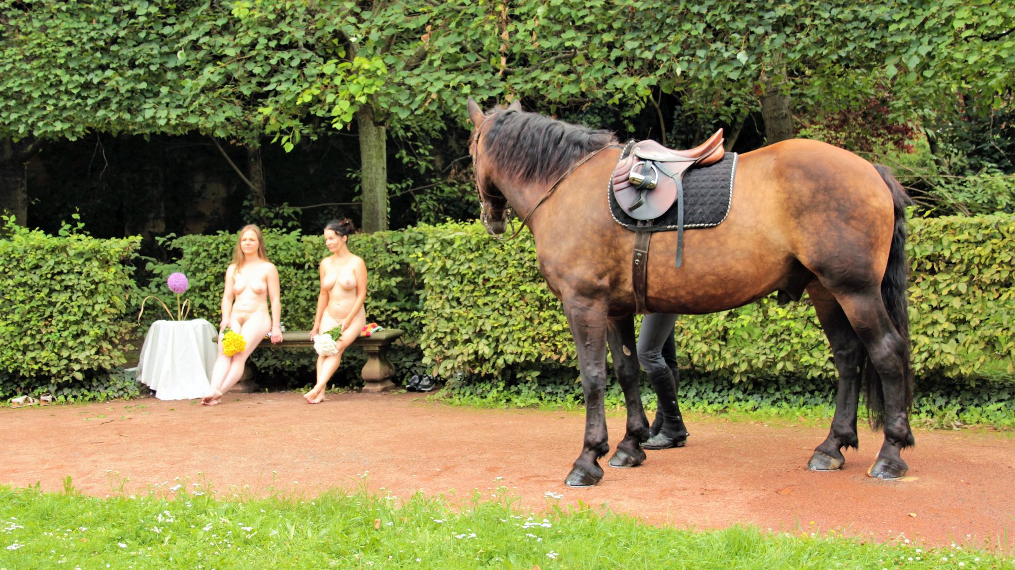 Nackte Reiterinnen beim Palais Sommer - Neustadt-Geflüster