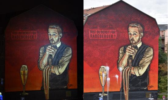 Das Wandbild Freitag Abend und Sonnabend Nachmittag - Foto: Heiko N.