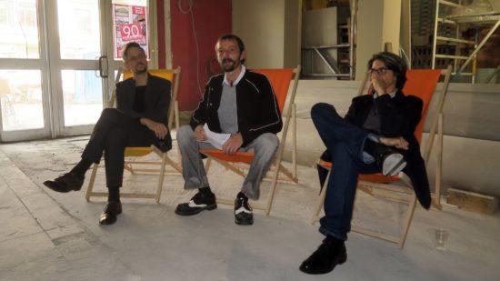 Architekten Hendrik Neumann und Benjamin Grill mit Schauburg-Chef Stephan Ostertag