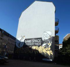 Neues Graffito an der Hauswand.