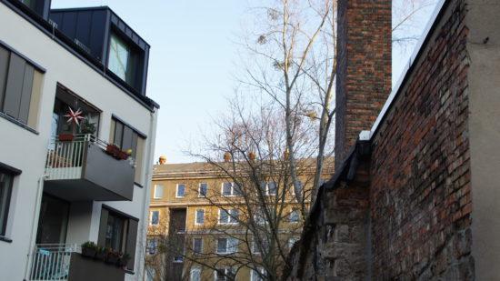 Blick auf die Rückseite der Häuser Martin-Luther-Straße